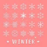 Αναδρομικό snowflake σύνολο Στοκ φωτογραφία με δικαίωμα ελεύθερης χρήσης