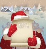 Αναδρομικό wishlist καρτών Χριστουγέννων σε Santa Στοκ Φωτογραφίες