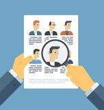 Αναλύοντας τους υποψηφίους επαναλάβετε την έννοια απεικόνισης Στοκ Εικόνες