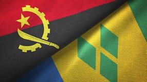 Ανγκόλα και Άγιος Βικέντιος και Γρεναδίνες δύο υφαντικό ύφασμα σημαιών διανυσματική απεικόνιση