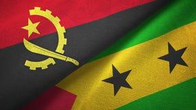 Ανγκόλα και Σάο Τομέ και Πρίντσιπε δύο υφαντικό ύφασμα σημαιών, σύσταση υφάσματος ελεύθερη απεικόνιση δικαιώματος