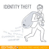 ανειλικρινής stealing κλέφτης κλοπής ασφάλειας νύχτας lap-top ταυτότητας στοιχείων έννοιας υπολογιστών Διανυσματική απεικόνιση Ed Στοκ φωτογραφία με δικαίωμα ελεύθερης χρήσης