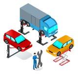Ανελκυστήρας αυτοκινήτων, συσκευή για το αυτοκίνητο στο εργαστήριο απεικόνιση αποθεμάτων