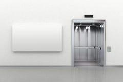 ανελκυστήρας πινάκων διαφημίσεων ανοικτός Στοκ Εικόνες