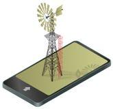 Ανεμαντλία για την άντληση του νερού στο αγρόκτημα στο κινητό τηλέφωνο ελεύθερη απεικόνιση δικαιώματος