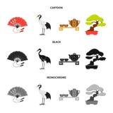 Ανεμιστήρας, κόκκινος γερανός κορωνών, τελετή τσαγιού, μπονσάι Καθορισμένα εικονίδια συλλογής της Ιαπωνίας στα κινούμενα σχέδια,  Στοκ Φωτογραφίες