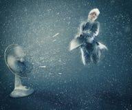 Ανεμιστήρας που προκαλεί το χιόνι Στοκ Φωτογραφία