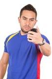 Ανεμιστήρας ποδοσφαίρου που φορά την μπλε μπλούζα Στοκ εικόνα με δικαίωμα ελεύθερης χρήσης
