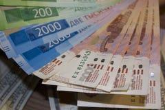 Ανεμιστήρας των ρωσικών τραπεζογραμματίων στοκ εικόνα