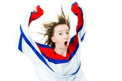 Ανεμιστήρας χόκεϋ στο Τζέρσεϋ στο κόκκινο μπλε ευθυμία κόκκινων χρωμάτων, στόχος εορτασμού στοκ εικόνες με δικαίωμα ελεύθερης χρήσης