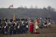Ανεμιστήρες ιστορίας στα στρατιωτικά κοστούμια Austerlitz Στοκ εικόνα με δικαίωμα ελεύθερης χρήσης