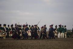 Ανεμιστήρες ιστορίας στα στρατιωτικά κοστούμια Austerlitz Στοκ Εικόνες