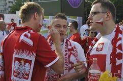 Ανεμιστήρες ποδοσφαίρου της Πολωνίας Στοκ εικόνα με δικαίωμα ελεύθερης χρήσης