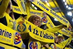 Ανεμιστήρες στη ημιτελική αντιστοιχία ένωσης της Ευρώπης μεταξύ Villarreal του ΘΦ και του Λίβερπουλ FC Στοκ φωτογραφίες με δικαίωμα ελεύθερης χρήσης
