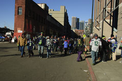 Ανεμιστήρες των Seattle Seahawks στο στάδιο Στοκ Εικόνες