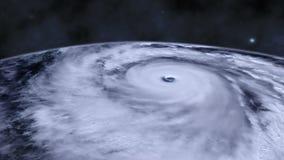 Ανεμοστρόβιλος θύελλας τυφώνα πέρα από τη γη από τη διαστημική, δορυφορική άποψη απόθεμα βίντεο
