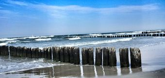Ανεμοφράχτης των κορμών στη θάλασσα Στοκ φωτογραφίες με δικαίωμα ελεύθερης χρήσης