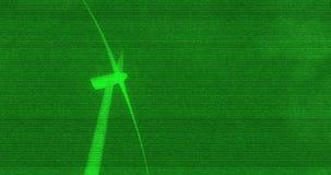 Ανεμόμυλος ανεμοστροβίλων που παράγει τα πράσινα κάμερα παρακολούθησης ηλεκτρικής ενέργειας απόθεμα βίντεο