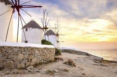 Ανεμόμυλοι της Μυκόνου, Chora, Ελλάδα Στοκ Φωτογραφία