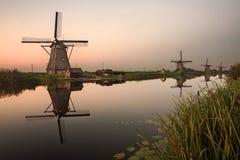 Ανεμόμυλοι Kinderdijk στην Ολλανδία Στοκ Εικόνες