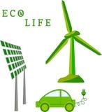 Ανεμόμυλος, ηλιακή μπαταρία, ηλεκτρικό αυτοκίνητο - ζωή eco διανυσματική απεικόνιση