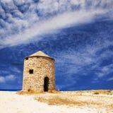 Ανεμόμυλος στην παραλία Gyra, Λευκάδα Στοκ Φωτογραφία