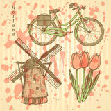 Ανεμόμυλος της Ολλανδίας σκίτσων, ποδήλατο και τουλίπα, διανυσματικό υπόβαθρο Στοκ φωτογραφία με δικαίωμα ελεύθερης χρήσης