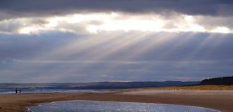 Ανεμώδης ημέρα στην παραλία στην ανατολική Σκωτία Στοκ Φωτογραφίες