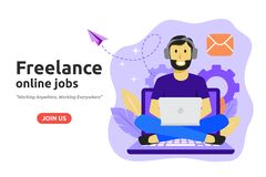 Ανεξάρτητη σε απευθείας σύνδεση έννοια σχεδίου εργασίας Το Freelancer αναπτύσσει την επιχείρηση διανυσματική απεικόνιση
