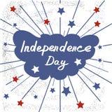 ανεξαρτησία ημέρας ανασκόπησης grunge αναδρομική εγγραφή Χειρόγραφη κάρτα σκίτσων καλλιγραφίας Στοκ Φωτογραφία