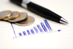 Ανερχόμενος γραφική παράσταση φραγμών στο σημειωματάριο με τα νομίσματα και τα εργαλεία γραφείων Στοκ εικόνα με δικαίωμα ελεύθερης χρήσης