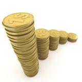 ανερχόμενος σωροί έννοιας νομισμάτων Στοκ φωτογραφία με δικαίωμα ελεύθερης χρήσης