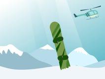 Ανελκυστήρας ελικοπτέρων ένα snowboarder στην κορυφή του βουνού ελεύθερη απεικόνιση δικαιώματος