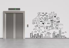 Ανελκυστήρας και επιχειρηματικό σχέδιο Στοκ Φωτογραφία