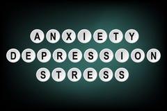 Ανησυχία, κατάθλιψη και πίεση λέξεων που γράφονται πλήκτρο τα ΟΝ ελεύθερη απεικόνιση δικαιώματος