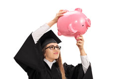 Ανησυχημένος απόφοιτος φοιτητής που τινάζει ένα piggybank Στοκ Εικόνα