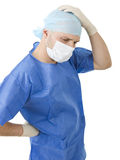 Ανησυχημένος γιατρός στο άσπρο υπόβαθρο Στοκ εικόνες με δικαίωμα ελεύθερης χρήσης