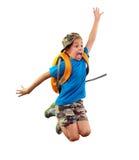 Ανησυχημένος μαθητής με το σακίδιο πλάτης που πιέζει χρονικά επάνω Στοκ εικόνες με δικαίωμα ελεύθερης χρήσης