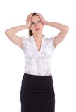 Ανησυχημένο κεφάλι εκμετάλλευσης επιχειρησιακών γυναικών Στοκ εικόνα με δικαίωμα ελεύθερης χρήσης