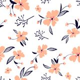 ανθίζει λίγα Άνευ ραφής σχέδιο με τα χαριτωμένα λουλούδια Λεπτή σύσταση απεικόνιση αποθεμάτων