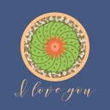 Ανθίζοντας κάκτος στενό μήνυμα αγάπης που αυξάνεται συνδεδεμένο διάνυσμα βαλεντίνων απεικόνισης s δύο καρδιών ημέρας ελεύθερη απεικόνιση δικαιώματος