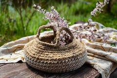 Ανθίζοντας κλαδάκια κερασιών πλεκτός pottle με τις λαβές στο φυσικό μουτζουρωμένο υπόβαθρο στοκ εικόνες