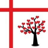 ανθίζοντας κόκκινο δέντρο καρδιών Στοκ εικόνα με δικαίωμα ελεύθερης χρήσης