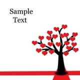ανθίζοντας κόκκινο δέντρο καρδιών Στοκ Εικόνες