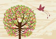 Ανθίζοντας πράσινα δέντρο και κολίβριο Διανυσματική απεικόνιση