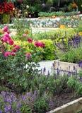 Ανθίζοντας υψηλά κρεβάτια με τα λαχανικά και τα λουλούδια φθινοπώρου Στοκ εικόνες με δικαίωμα ελεύθερης χρήσης