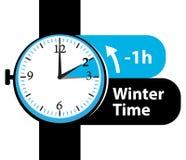 ανθίστε το χρονικό χειμώνα χιονιού Χρόνος αποταμίευσης φωτός της ημέρας Πίσω εικονίδιο ρολογιών πτώσης Στοκ Φωτογραφία
