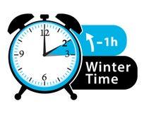 ανθίστε το χρονικό χειμώνα χιονιού Χρόνος αποταμίευσης φωτός της ημέρας Πίσω εικονίδιο ξυπνητηριών πτώσης Στοκ Εικόνες