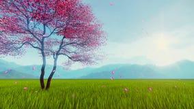 Ανθισμένο δέντρο κερασιών sakura σε αργή κίνηση διανυσματική απεικόνιση
