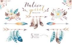 Ανθοδέσμες λουλουδιών Watercolor που τίθενται με τα φτερά Οργανική τυπωμένη ύλη σχεδίου φτερών χρώματος Watercolour απομονωμένη ω Στοκ εικόνα με δικαίωμα ελεύθερης χρήσης